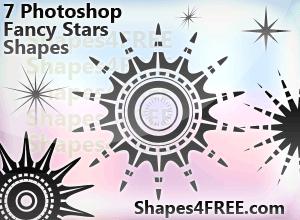 7种星星样式花纹图案Photoshop自定义形状素材下载