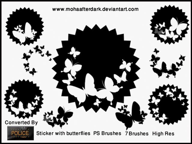 漂亮的蝴蝶剪纸花纹Photoshop笔刷素材下载 蝴蝶花纹笔刷  adornment brushes