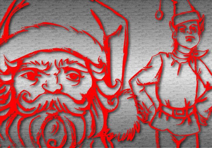 圣诞节老公公与精灵Photoshop自定义形状素材下载