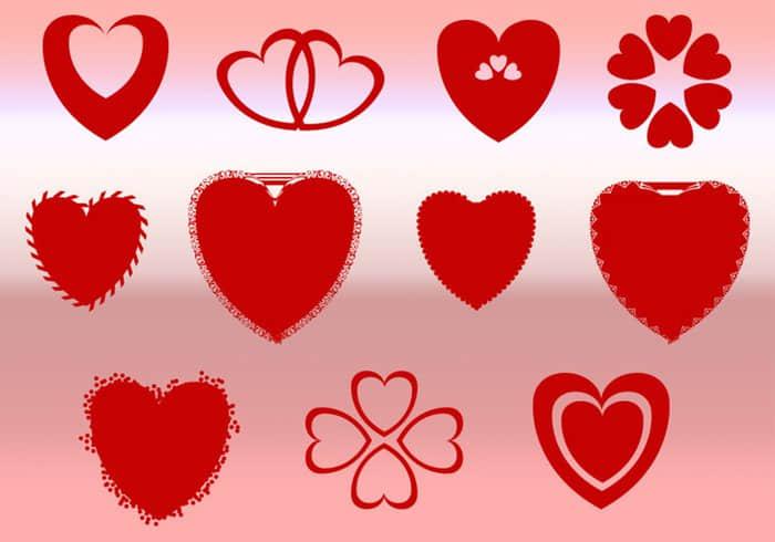 浪漫情人节爱心组合式花纹图案Photoshop自定义形状素材 .csh 下载