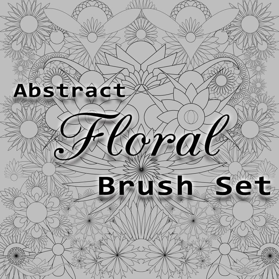 20种抽象式花卉图案、鲜花线框图案Photoshop笔刷素材