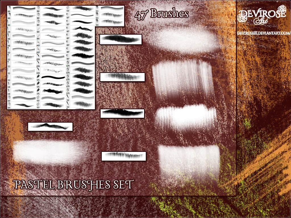 47种粉笔、蜡笔纹理模式Photoshop笔刷素材下载