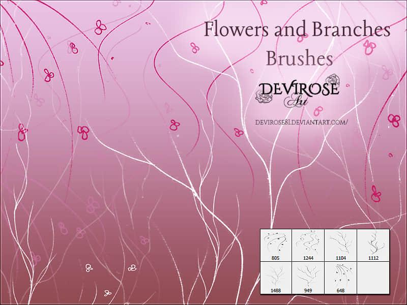 树枝花纹图案Photoshop印花笔刷 花纹笔刷 印花笔刷  flowers brushes