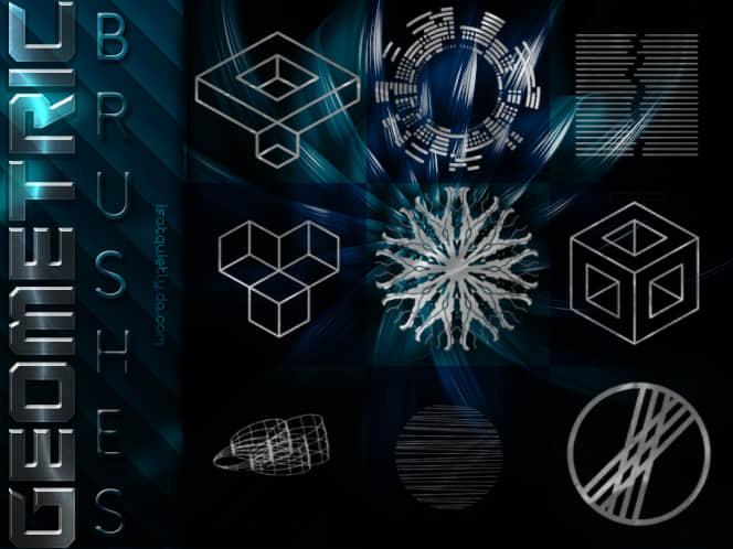 几种几何图形组合图案PS笔刷包素材 几何图形笔刷  adornment brushes