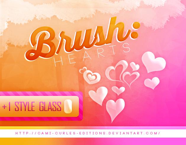 半透明式爱心、心形图案Photoshop笔刷abr.图层样式.asl素材下载 爱心笔刷 ps图层样式  love brushes