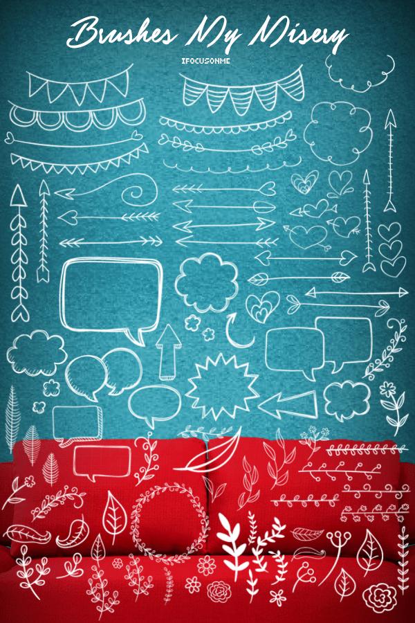 卡哇伊童趣手绘涂鸦箭头、彩旗横幅、气泡对话框、植物叶子花纹图案PS笔刷素材