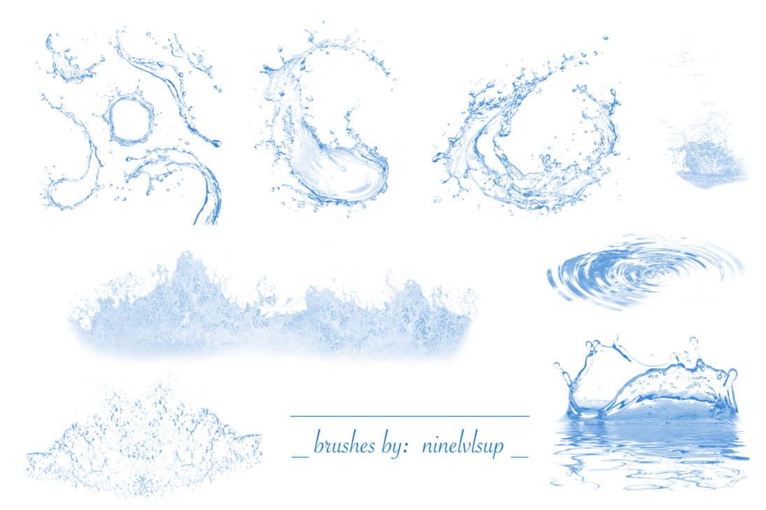 真实的水花、水面波纹、浪花效果Photoshop笔刷素材下载