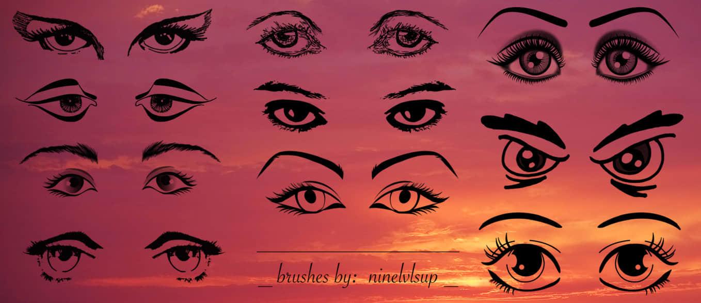 手绘式眼睛与眉毛、眼神效果Photoshop笔刷素材下载 眼神笔刷 眼睛笔刷 眉毛笔刷  %e5%8d%a1%e9%80%9a%e7%ac%94%e5%88%b7 characters brushes