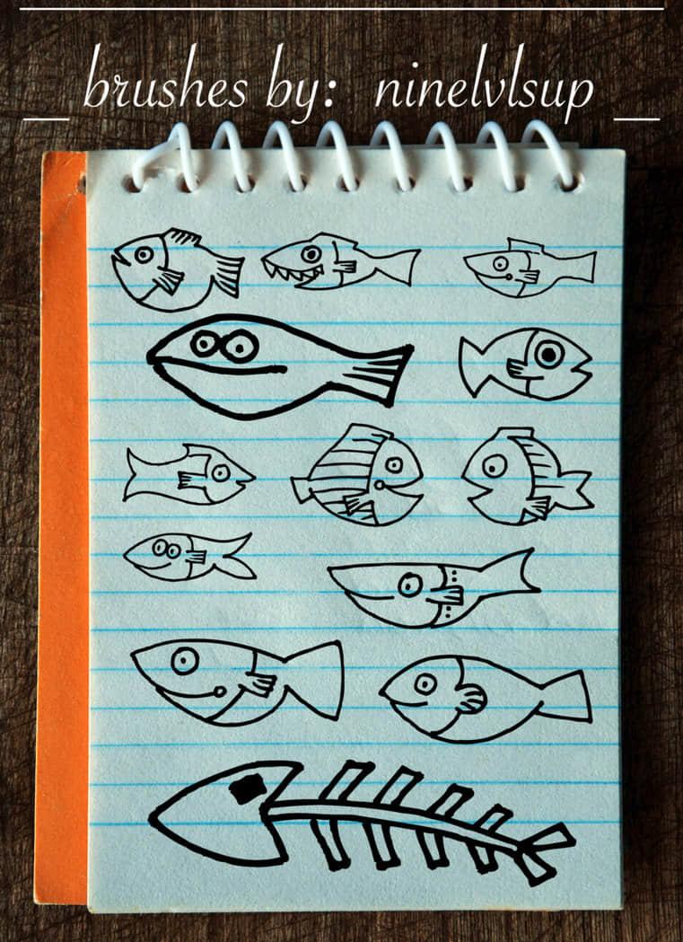 手绘涂鸦小鱼鱼图形、鱼骨头PS童趣笔刷素材 美图笔刷 童趣笔刷 照片装饰笔刷 照片美化笔刷 可爱鱼骨头笔刷 可爱笔刷 卡通云笔刷  %e6%b6%82%e9%b8%a6%e7%ac%94%e5%88%b7 %e5%8d%a1%e9%80%9a%e7%ac%94%e5%88%b7