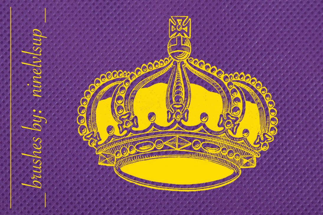 版刻式女皇皇冠、欧式皇权王冠PS笔刷素材下载
