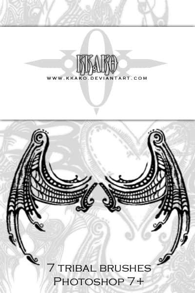 恶魔翅膀纹身、魔鬼怪兽刺青图案PS笔刷下载 魔鬼刺青笔刷 恶魔纹饰笔刷  adornment brushes