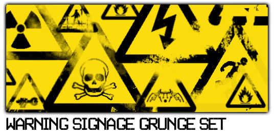 危险品警告、警示标识图形Photoshop笔刷下载 警告标识笔刷 标识笔刷 标志笔刷  symbols brushes