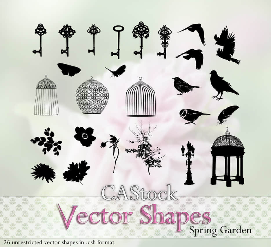 古朴钥匙、精美鸟笼、树枝树叶、亭楼、小鸟乌鸦麻雀photoshop自定义形状素材 .csh 下载