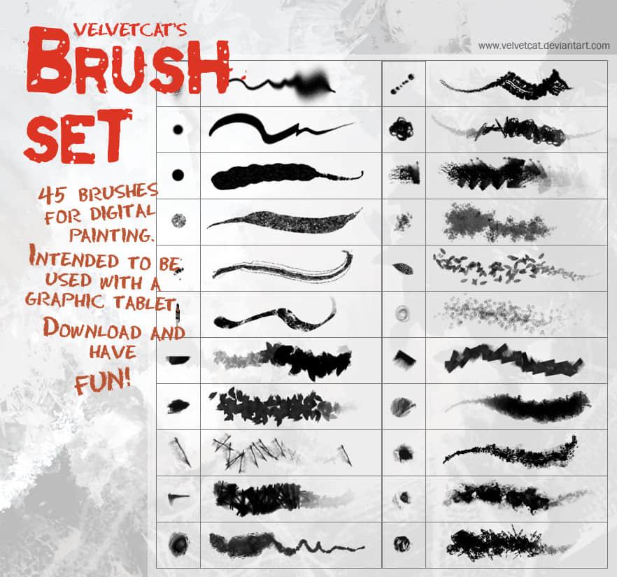 45种免费的Adobe Photoshop数字绘画笔刷素材 绘画笔刷 数字艺术笔刷  photoshop brush