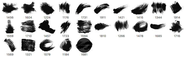 24种高分辨率油漆毛刷痕迹涂痕PS笔刷素材