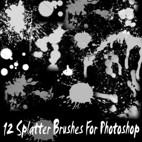 油漆滴溅、喷溅效果Photoshop笔刷素材下载