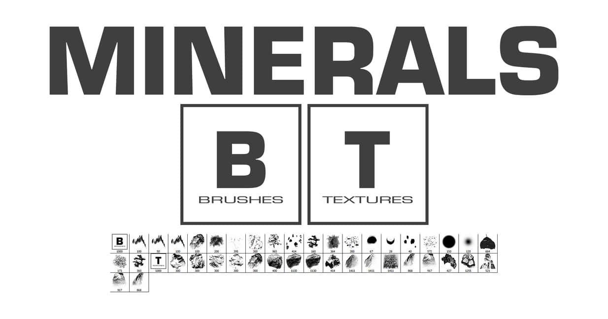 矿产、矿石、石头、岩石纹理Photoshop笔刷素材