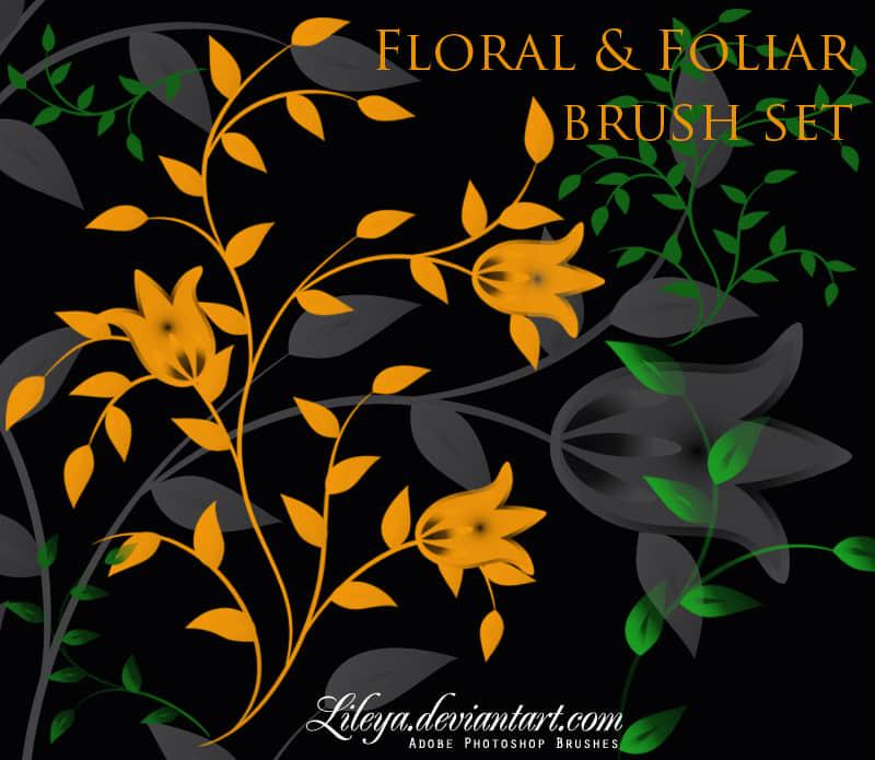 漂亮的艺术花纹图案、鲜花印花PS笔刷下载 鲜花花纹笔刷 植物花纹笔刷 印花笔刷  flowers brushes