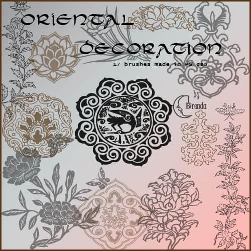 古典花纹、雕刻花朵图案PS笔刷下载 雕刻花纹笔刷 古典花纹笔刷  flowers brushes