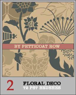 鲜花花卉艺术图案、古典手绘印花雕刻图形PS笔刷下载