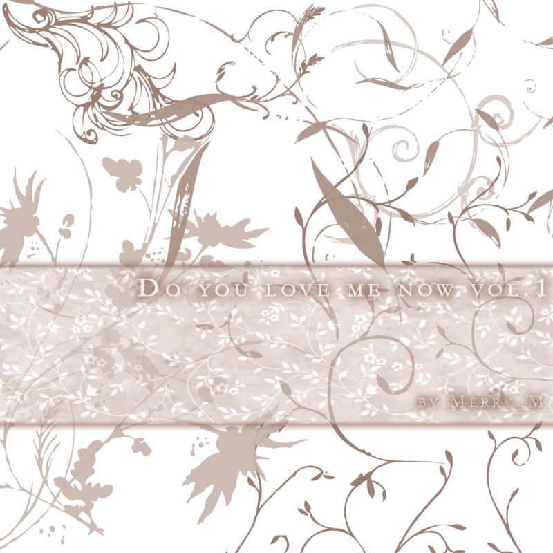 随意涂鸦植物花纹图案PS笔刷素材下载 植物花纹笔刷 手绘花纹笔刷  adornment brushes