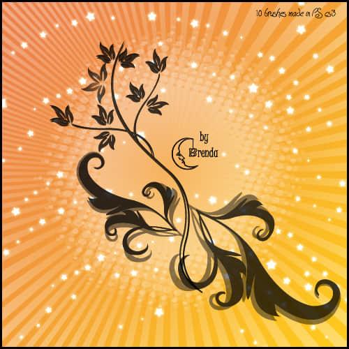 优雅美丽的植物花纹图案PS印花笔刷 植物花纹笔刷 手绘花纹笔刷  flowers brushes