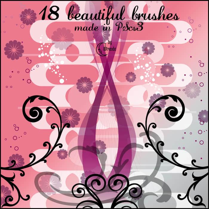 漂亮的矢量造型鲜花花朵与植物藤蔓PS笔刷素材 鲜花笔刷 藤蔓笔刷 花朵笔刷 植物花纹笔刷  flowers brushes