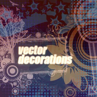 包含时尚同心圆、星星符号背景装饰图案和大树、鲜花花纹PS笔刷素材