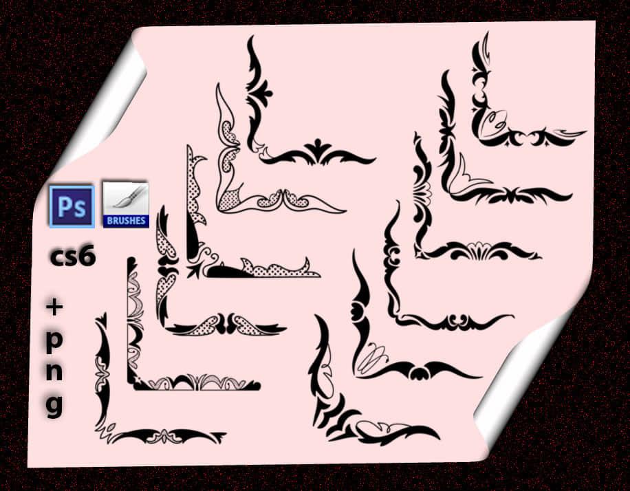 漂亮的花卉边角、印花边角PS笔刷素材 边角笔刷 植物花纹笔刷 印花笔刷  flowers brushes