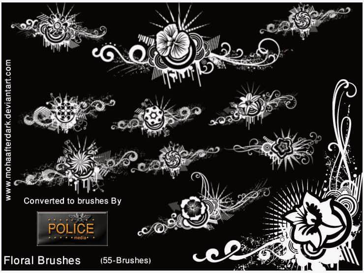 非主流鲜花花朵背景时尚元素装饰图案PS笔刷