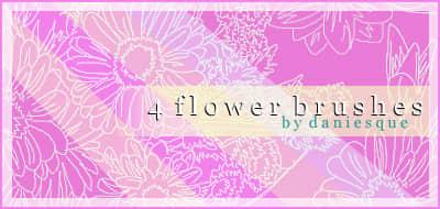 漂亮的手绘向日葵花朵图案PS笔刷素材下载 花朵花纹笔刷 手绘花朵图案笔刷  flowers brushes