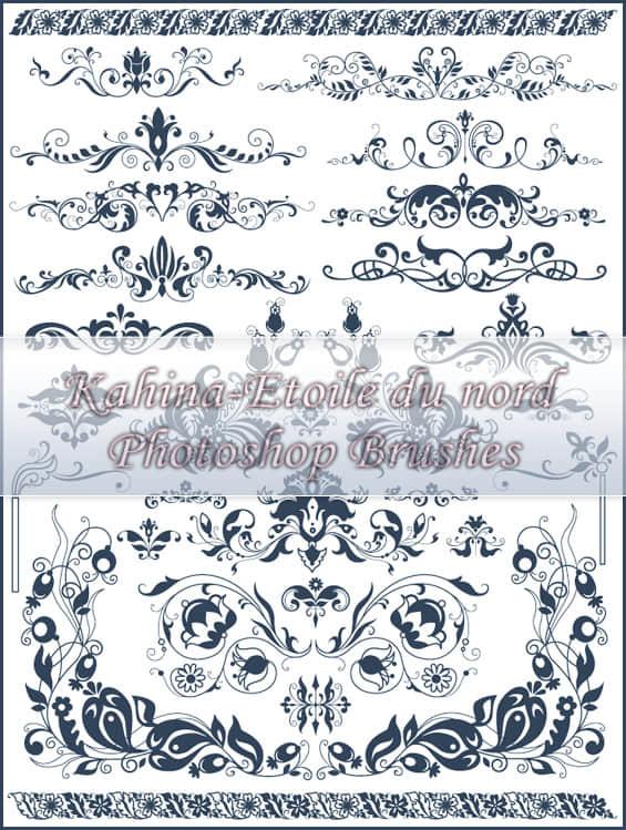 华丽的欧式贵族植物花纹图案PS印花笔刷 贵族花纹笔刷 植物花纹笔刷 印花笔刷  flowers brushes