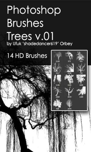 14种大树、树木剪影图形Photoshop笔刷素材下载 树木笔刷 大树剪影笔刷  plants brushes