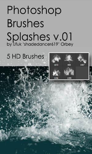 5种高清水花、水浪Photoshop水笔刷素材