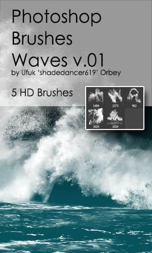 5种海浪、大海波涛、潮水效果PS笔刷素材 潮水笔刷 海浪笔刷 波涛笔刷 大海笔刷  water brushes