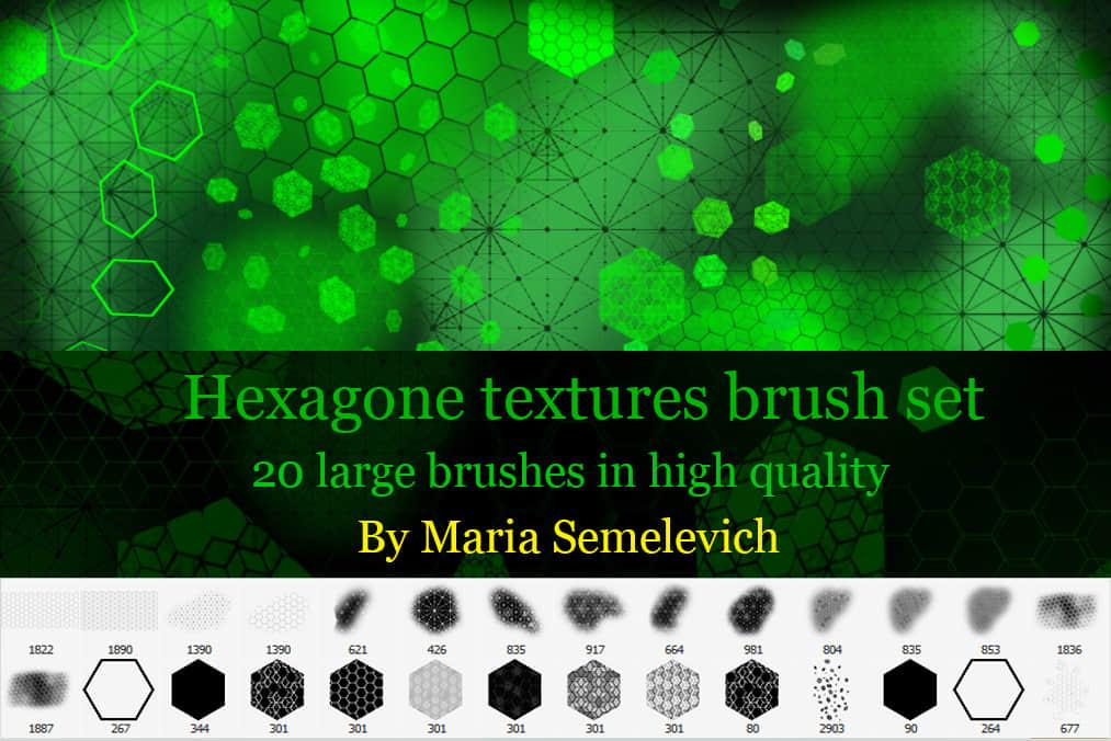 菱形、六边形蜂窝状背景图案Photoshop科技元素笔刷