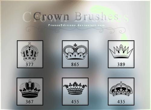 6种皇冠、王冠图形Photoshop笔刷素材 皇冠笔刷 王冠笔刷  adornment brushes