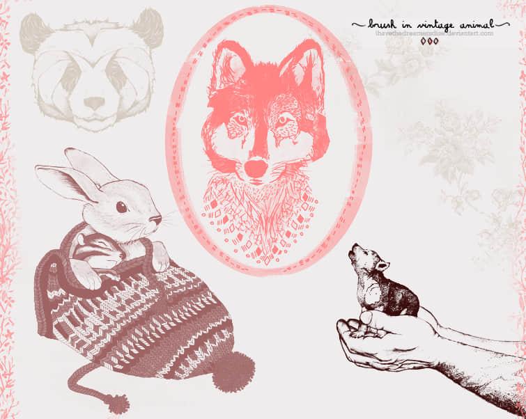 可爱卡哇伊熊猫、兔子、狼头等动物插画图形PS笔刷素材 狼头笔刷 熊猫笔刷 插画笔刷 可爱笔刷 兔子笔刷  %e5%8d%a1%e9%80%9a%e7%ac%94%e5%88%b7