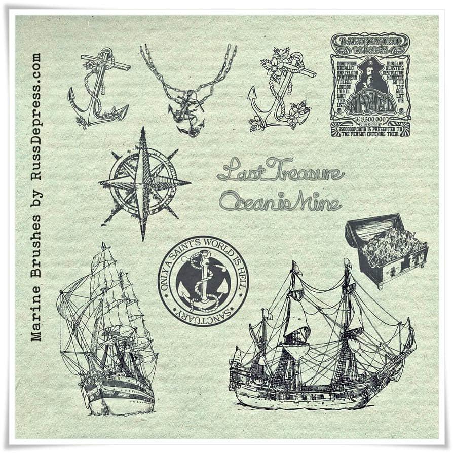 船锚、西式帆船、宝藏、指南针符号PS航海元素笔刷