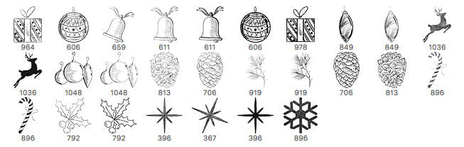 可爱圣诞节铃铛、礼物、麋鹿、彩球等卡通装饰品Photoshop美图笔刷