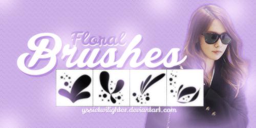 4种涂鸦艺术效果植物花瓣花纹图案PS笔刷素材 艺术花纹笔刷  flowers brushes