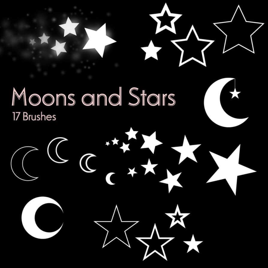 星星、五角星符号、月亮图形Photoshop笔刷素材 月亮笔刷 星星笔刷 五角星笔刷  symbols brushes