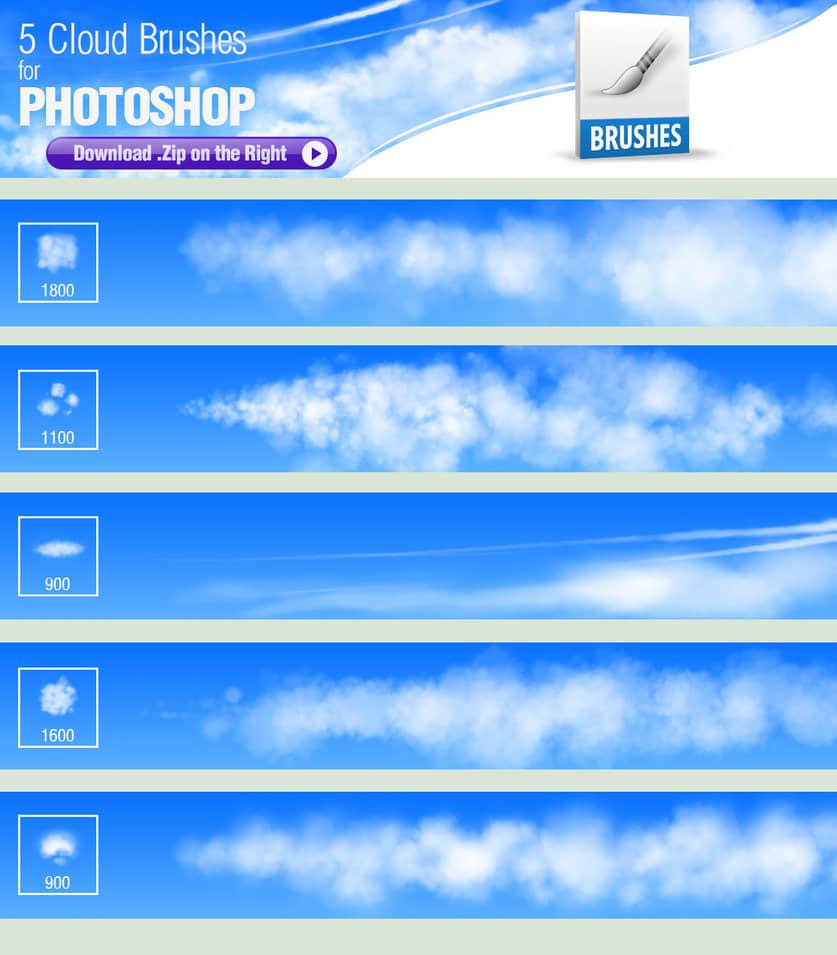 5种漂亮的梦幻云彩、天空白云效果PS笔刷素材下载+TPL工具预设 白云笔刷  cloud brushes
