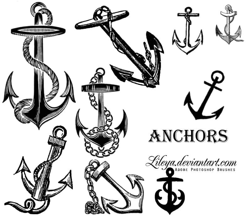 手绘船锚、大船船锚图案PS笔刷素材