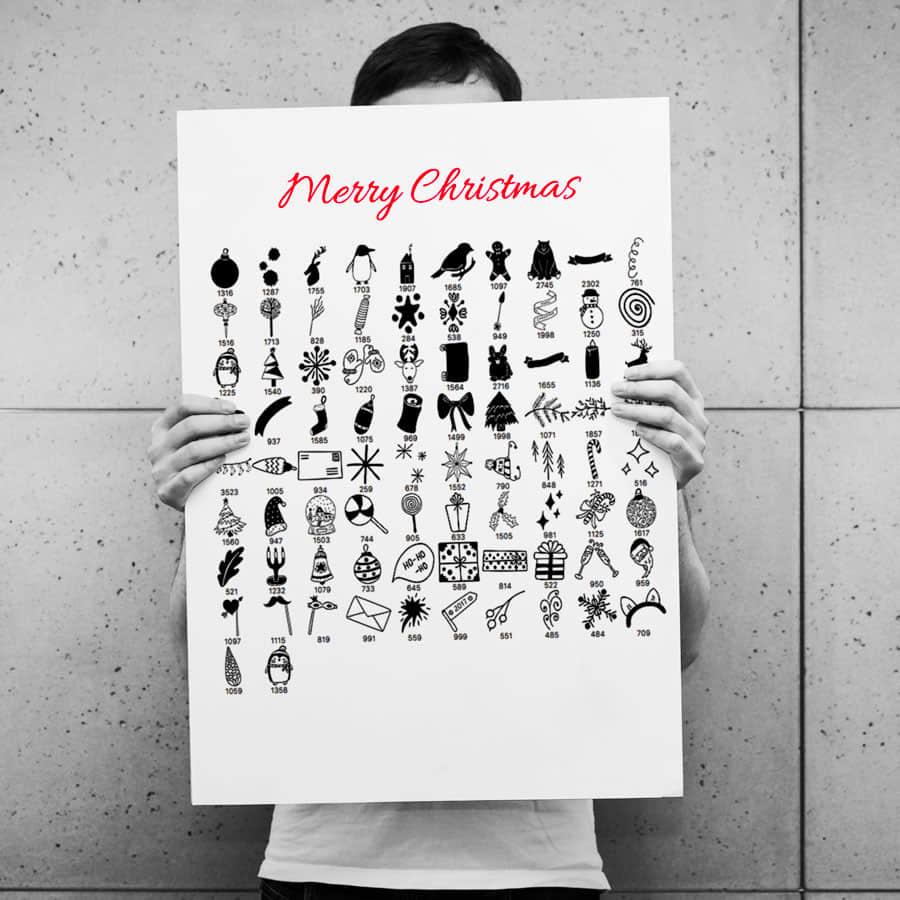 82种圣诞节卡哇伊图形、呆萌卡通圣诞节图案PS笔刷