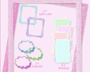 10种相片边框、对话框图形PS笔刷素材