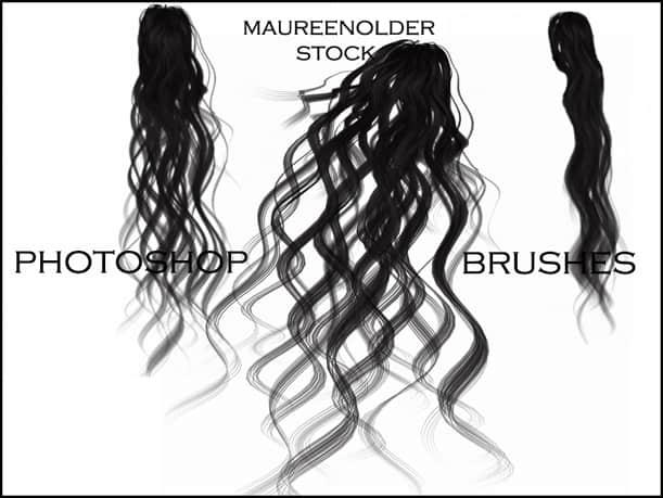 手绘烫发、长发、卷发Photoshop女性发型笔刷