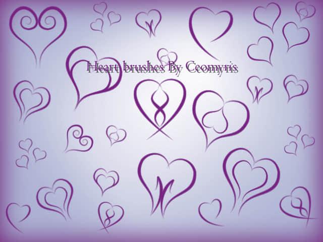 漂亮的手绘涂鸦爱心、情人节心形图案Photoshop笔刷素材