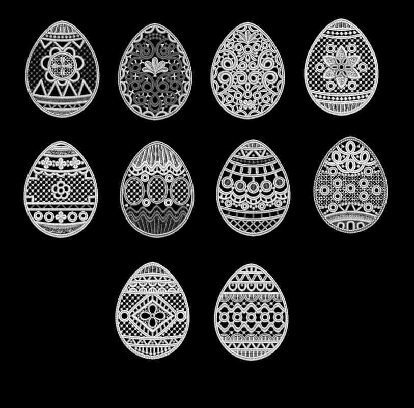 漂亮的镌刻式、刺绣式、十字绣式复活节彩蛋花纹图案Photoshop笔刷