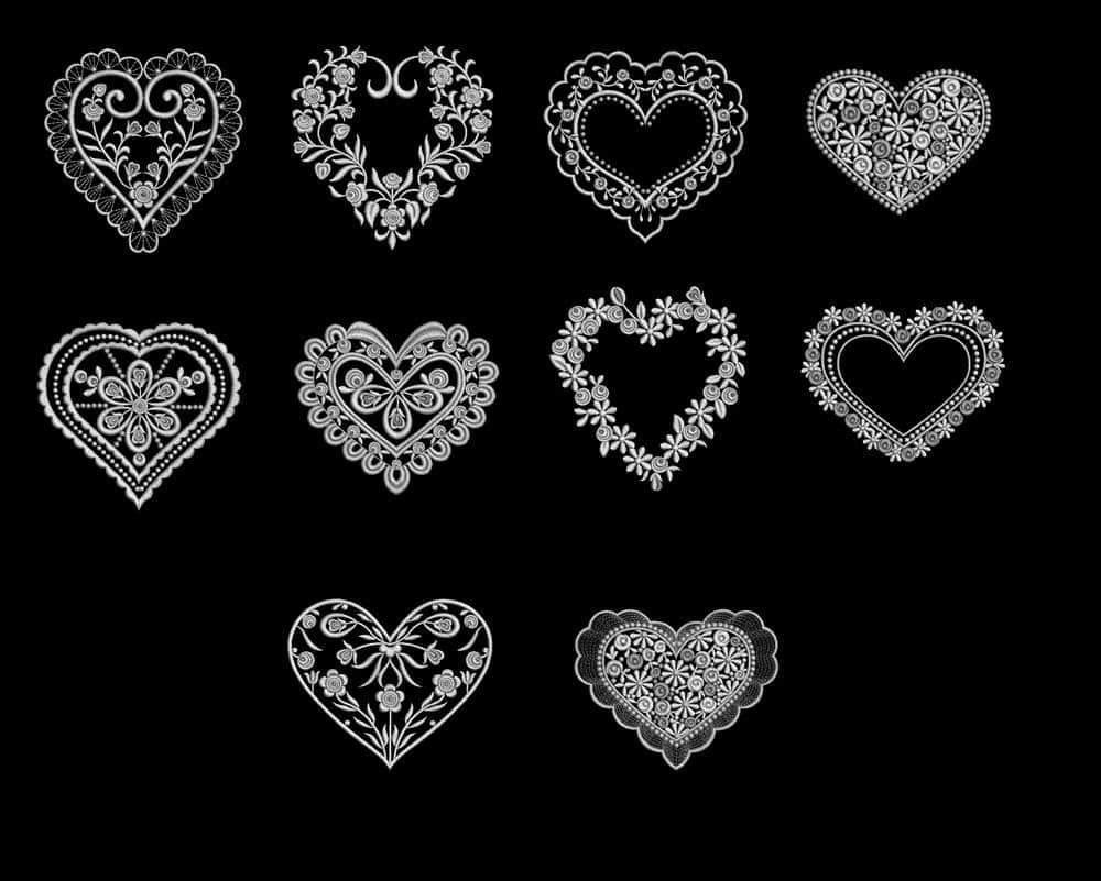 情人节爱心、刺绣十字绣式心形图案Photoshop恋爱笔刷